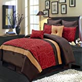 Luxurious QUEEN Size 8 Piece RED ATLANTIS Comforter Set with Comforter, Pillow Shams, Decorative Pillows, Bed Skirt, Color Style Red Chocolate Gold