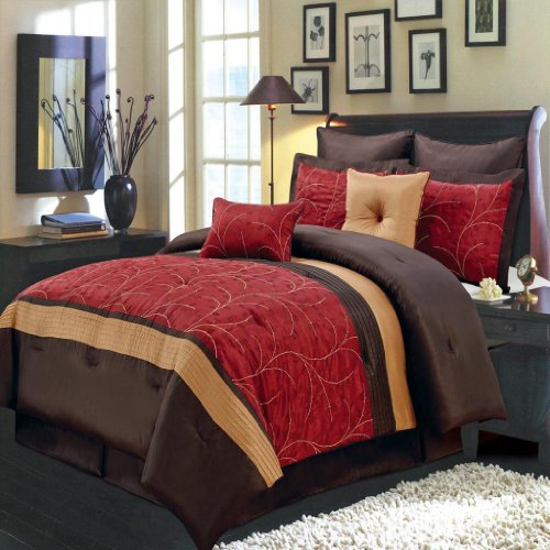Olympic Queen Comforters - Luxurious OLYMPIC QUEEN Size 8 Piece RED ATLANTIS Comforter Set with Comforter, Pillow Shams, Decorative Pillows, Bed Skirt, Color Style Red Chocolate Gold