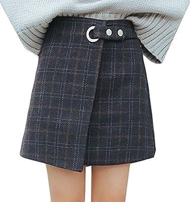 LULULADY Women's Retro High Waist Wool Blend Plaid A-Line Mini Skirt