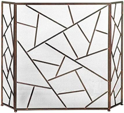 暖炉スクリーン シンプルなリビングルーム暖炉パーティション画面スリーネット錬鉄中空装飾的なマンテルで火災バーを折りたたみ 暖炉用パネル
