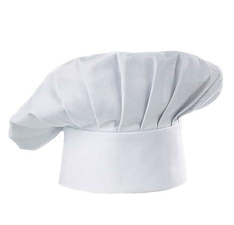 Ruikey Sombrero de Chef para niños Blanco Ajustable Panadero elástico  Cocina Cocinero pastelero Sombrero para cf5b8f3442f