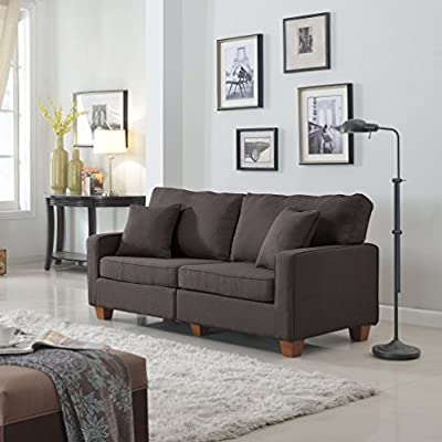 Classic 73-inch Love Seat Living Room Linen Fabric Sofa in Colors Beige, Brown, Light Grey and Dark Grey (Brown)