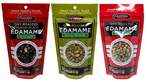 Seapoint Farms All Natural Gluten Free Dried Edamame Snack 3 Flavor 6 Bag Variety Bundle, (2) each: Green Sea Salt, Green Wasabi, Black Sea Salt (3.5-4 Ounces)