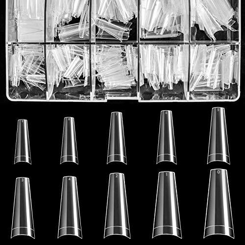 Clear Acrylic Nail Tips - Coffin Nail Tips BTArtfield 500pcs Artificial Ballerina formed Fake Nails Half Cover False Nail with Case for Nail Salons and DIY Nail Art, 10 Sizes