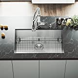 VIGO VG3019BK1 Ludlow 30 Inch Undermount 16 Gauge Stainless Steel Single Bowl Handmade Kitchen Sink w/Grid, Strainer. Sound Minimizing Tech. Commercial Satin Finish. 30 inch L x 19 inch W x 10 inch D