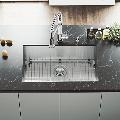 (VIGO VG3019BK1 Ludlow 30 Inch Undermount 16 Gauge Stainless Steel Single Bowl Handmade Kitchen Sink w/Grid, Strainer. Sound Minimizing Tech. Commercial Satin Finish. 30 inch L x 19 inch W)
