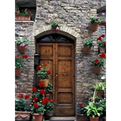Flower Pots on Door, Assisi, Umbria, Italy Photographic Poster Print by Marilyn Parver, 18x24