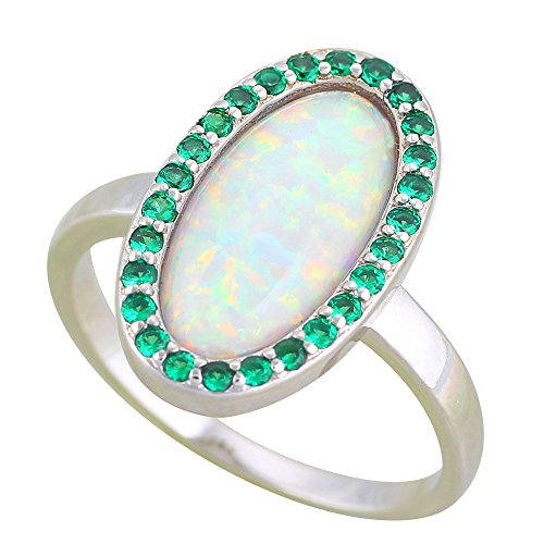 925 Silver Zircon Oval design Vintage white fire Opal stamped Fashion Jewelry Rings OR894 (Opal Mosaic)