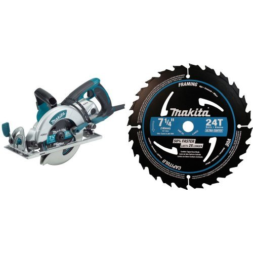 Makita 5377MG Magnesium 7-1/4-Inch Hypoid Saw with A-94530-10 7-1/4'' 24T Ultra-Coated Framing Blade, 10-Pack by Makita