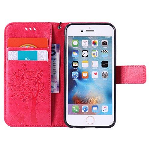"""iPhone 6 / 6S Schutzhülle , LH® (Rose Kontext) Schmetterling Baum Flip PU Ledertasche Ständer Schale Tasche Hülle Case Cover mit Kreditkartensteckplätze für Apple iPhone 6 / 6S 4.7"""""""