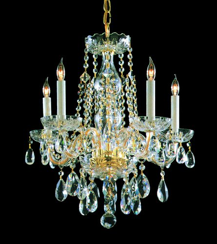 Crystorama 1061-PB-CL-MWP, Traditional Crystal 1 Tier Chandelier Lighting, 5 Light, 300 Watts, Brass - Traditional Chandelette