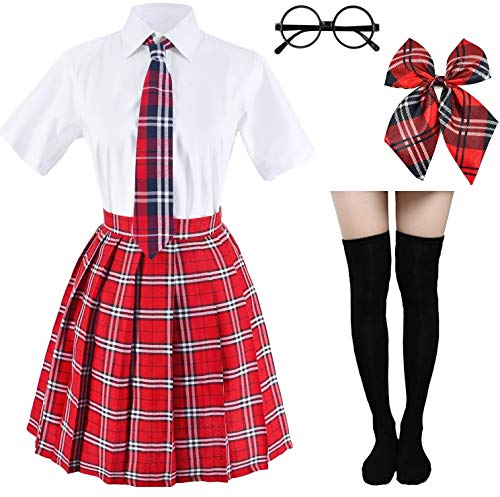 Japanese Tartan Pleated School Uniform Cosplay Costumes with Socks Eyeglass Frame Set (Red)(XL = Asia XXL)(SSF09) -