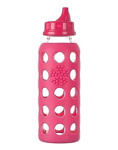 Lifefactory 9-Ounce BPA-Free Glass Bottle, Raspberry