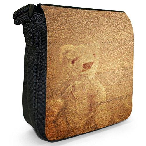 Black Old Bag Small Handbag Canvas Vintage Days Teddy Good Bear Shoulder x6d7Yq7w