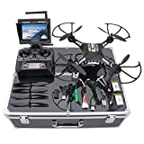 RC Quadcopter, Potensic F183DH Drone RTF Altitude Hold UFO with Newest Hover Function,2MP Camera& 5.8Ghz FPV LCD Screen Monitor & Drone Carrying Case
