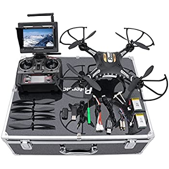 Drone with HD Camera, Potensic F183DH Drone RC Quadcopter RTF Altitude Hold UFO with Newest Stepless-speed Function,2MP Camera& 5.8Ghz FPV LCD Screen Monitor & Drone Carrying Case - Black