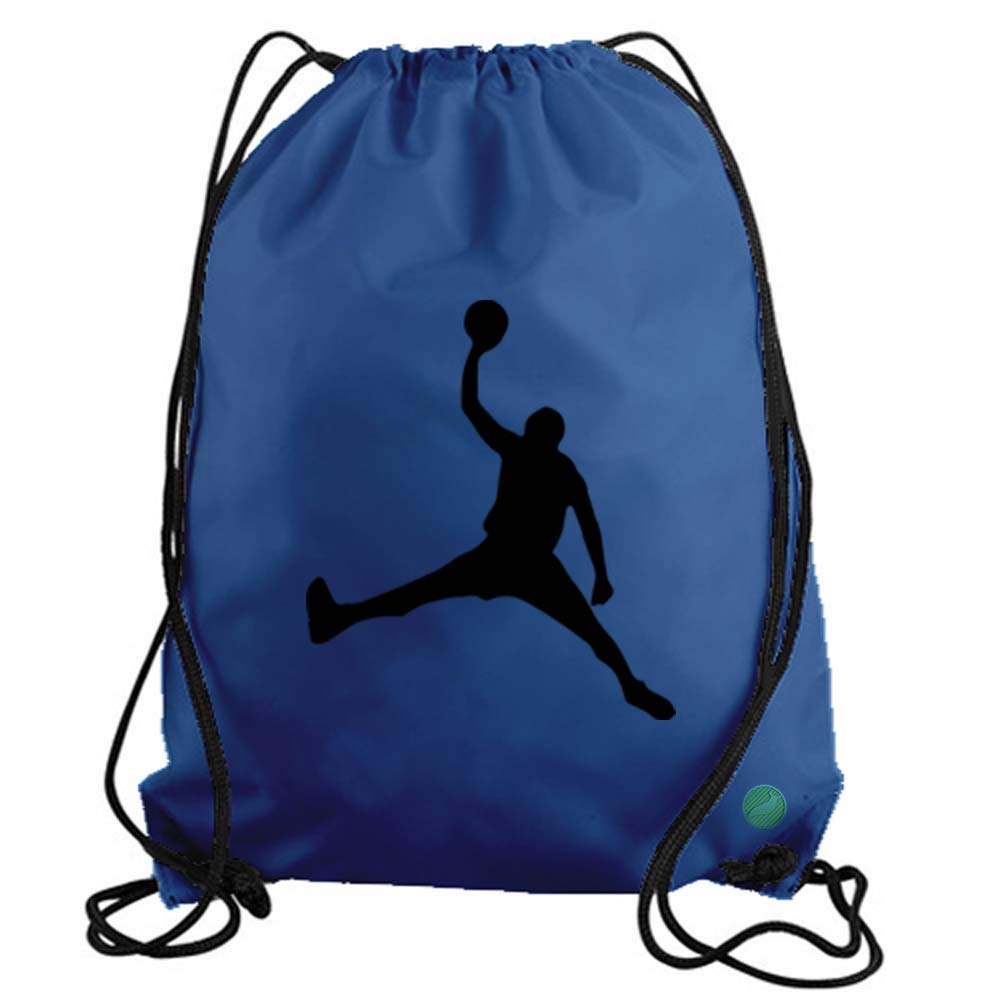 Jordan Dunk Basketball Player Drawstring Gym Bag Workout Cinch Nylon Backpack aaab-a-gym-11784-blck-std-std