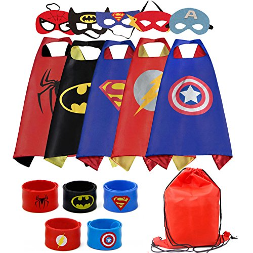 Old Cape (Dress up Costume Cape and Mask Set with Drawstring Backpack and Matching Shaped Rubber Wristbands for Kids, Birthday Party Children (5pcs for Boys))