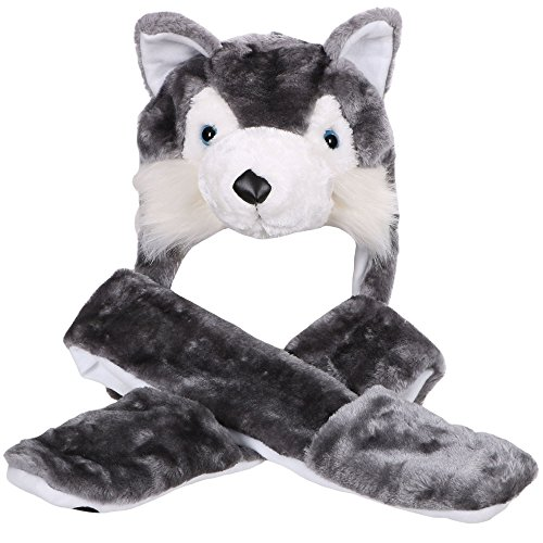 Simplicity Winter Animal Hats Caps Full Hoodie Grey Dog Caps with Scarf Mitten