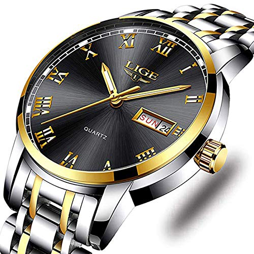 (Watches Men Fashion Sport Waterproof Analog Quartz Wristwatch Men Luxury Brand LIGE Chronograph Watch Gents Silver Stainless Steel Black Business Clock)