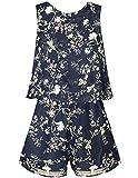 Smukke, Big Girls Vintage Lace Trimmed Denim Sleeveless Romper, 7-16 (Dark Navy, 12)