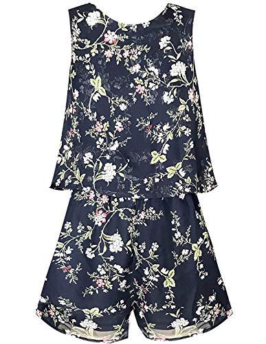 Smukke, Big Girls Vintage Lace Trimmed Denim Sleeveless Romper, 7-16 (Dark Navy, 12) by Smukke