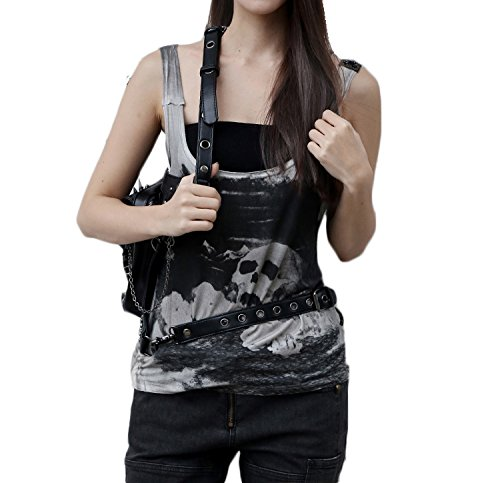Waist Fanny Steel Holster Purse Steampunk Skull Rivets Shoulder Master Bags Bag Leg Packs Leather XaY6YwWFrq