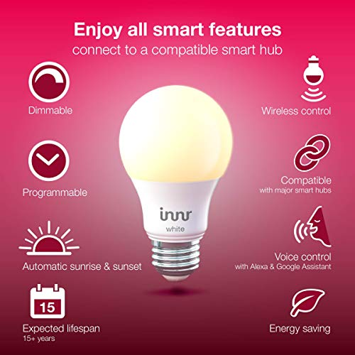 Innr Smart Bulb White A19, Works with Philips Hue, SmartThings, Alexa, Google Home (Hub Required), Dimmable Warm White LED Light Bulb, 60W Equivalent, AE 260 (2-Pack)