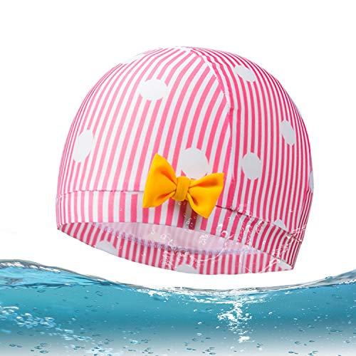 ZDHGLOBAL Kids Swim Cap Pink Lycra Swim Caps for Kids Bathing Caps Long Hair Swimming Hat Kids Swimming Cap