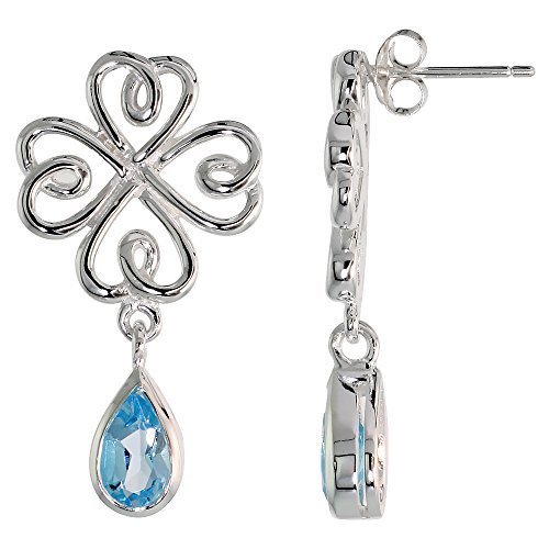 Sterling Silver Celtic Shamrock Tear Drop Earrings with Natural Blue Topaz, 1 1/4 inch long by Sabrina Silver