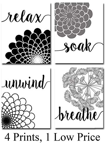 Bath Flowers - Set of Four Photos (8x10) Unframed - Makes a Great Gift Under $15 for Bathroom - White And Black Wall Pictures