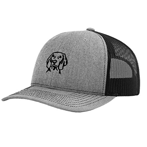 Speedy Pros Weimaraner Dog Face Embroidery Design Richardson Structured Front Mesh Back Cap Heather Gray/Black (Hat Weimaraner)