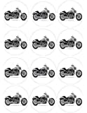 """Single Source Party Supplies - 2.5"""" Harley Davidson Motorcycle Cupcake Edible Icing Image Toppers #1"""