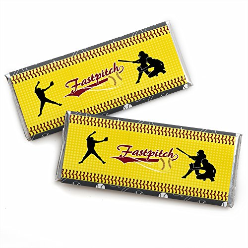 Grand Slam - Fastpitch Softball - Candy Bar Wrapper Birthday Party or Baby Shower Favors - Set of 24