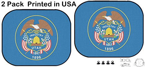 Liili Car Sun Shade Protector Block Damaging UV Rays Sunlight Heat for All Vehicles, 2 Pack The Flag of The American State of Utah Image ID 19122028 ()