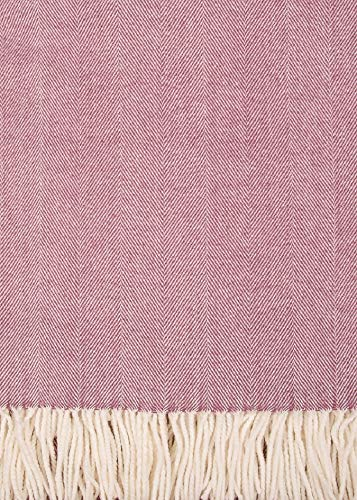 (Alashan Cashmere Herringbone Woven Throw Cotton Blend Smokey Plum)