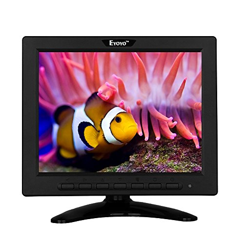 Eyoyo 8 Inch HDMI Monitor 4:3 TFT LCD Mini Screen 1024x768 Resolution Support HDMI VGA BNC AV USB Input with Remote Controller for Video Display DVD PC Laptop
