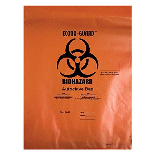Action Health ACO38X47 Econo-Guard Polypropylene Biohazard Autoclave Bag, 38W x 47H, 2 mil, Indicator, Orange, Biohazard Print, Case 200, Shape,, (Pack of 200) by Action Health