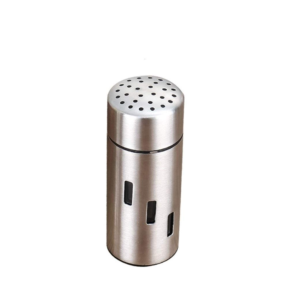 North cool Stainless Steel Dusting Cans Barbecue Seasoning Bottle Pepper Salt Shaker Bottle Big Hole (Color : B Middle Hole)
