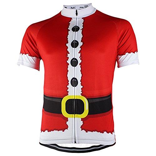HIRBGOD Men's Cycling Jersey Christmas Santa Claus Short Sleeve Bicycle Bike Shirts Tops, HK087 (XXX-Large(Chest 48.04''))
