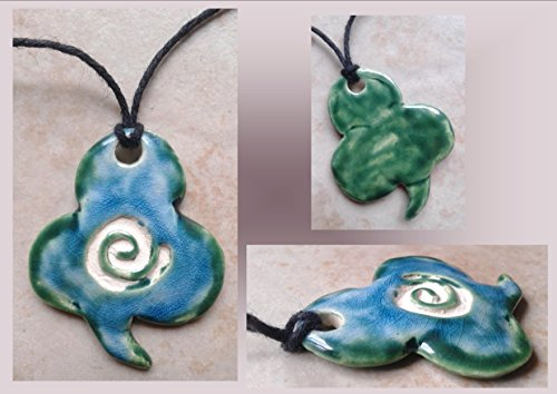 Green Turquoise Irish Lucky Shamrock Ceramic Essential Oil Diffuser Necklace Clover Leaf Pendant Aromatherapy .2