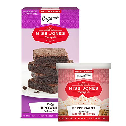 (Miss Jones Baking Organic Fudge Brownie Mix with Holiday Peppermint Frosting, Non-GMO, Vegan-Friendly: Rich Cocoa, Peppermint Crunch Pieces (Pack of 2))