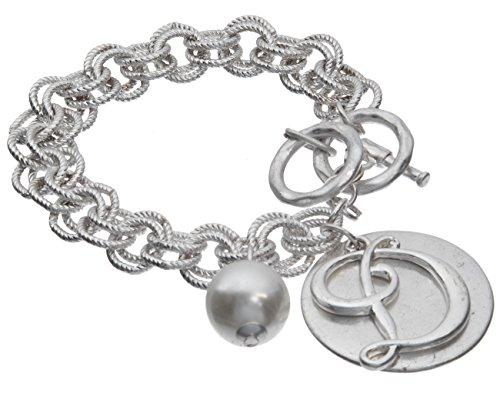 (Jewelry Nexus D Monogram Silver-Tone Overlay Medallion Bracelet Imitation Pearl & Toggle Closure)