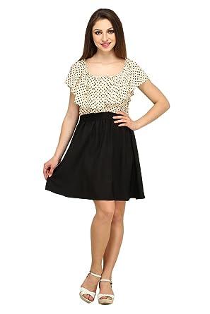 COLOR FUEL Women Crepe Cream Dress Dresses