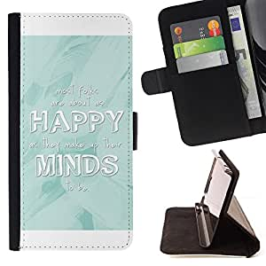 BullDog Case - FOR/LG OPTIMUS L90 / - / happy minds white baby blue quote /- Monedero de cuero de la PU Llevar cubierta de la caja con el ID Credit Card Slots Flip funda de cuer