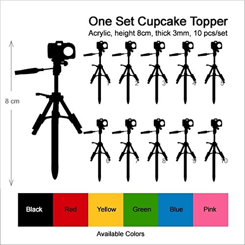 TA0453 Camera Silhouette Party Wedding Birthday Acrylic Cupcake Toppers Decor 10 pcs by jjphonecase (Image #2)