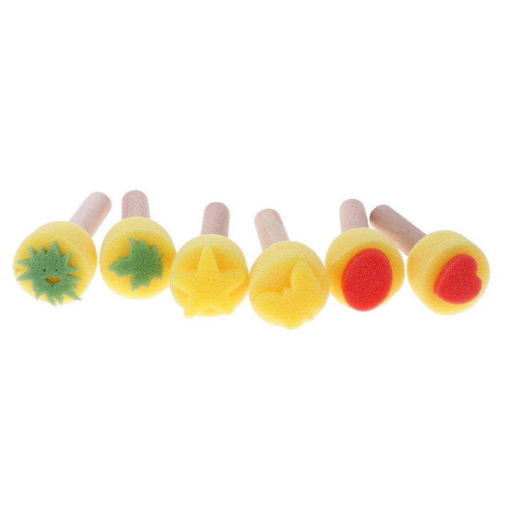 Gazechimp 6pcs Tampons /à Imprimer Brosse Rouleau Pinceau DIY Art Outil de Peinture /éponge Cadeau Jouet Enfant
