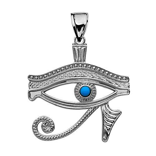 (Sterling Silver Egyptian Blue Eye of Horus Pendant)