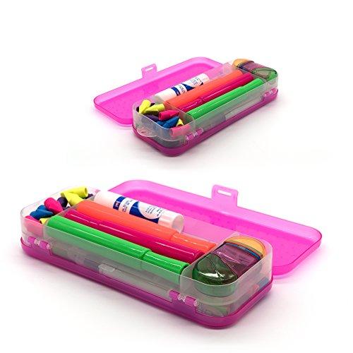 Emraw Double Deck Organizer Box - Bright Color School Pencils Box Stationery Box Pen Holder Box Organizer, School Supplies Pencil Box for Students Pencil Case Pencil Box (6-Pack) by Emraw (Image #5)