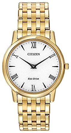 f5d8bb33c9e Citizen Watch Stiletto Men s Quartz Watch with White Dial Analogue Display  and Gold Stainless Steel Gold